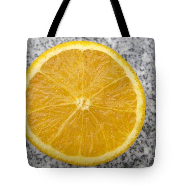 Orange Cut In Half Grey Background Tote Bag by Matthias Hauser