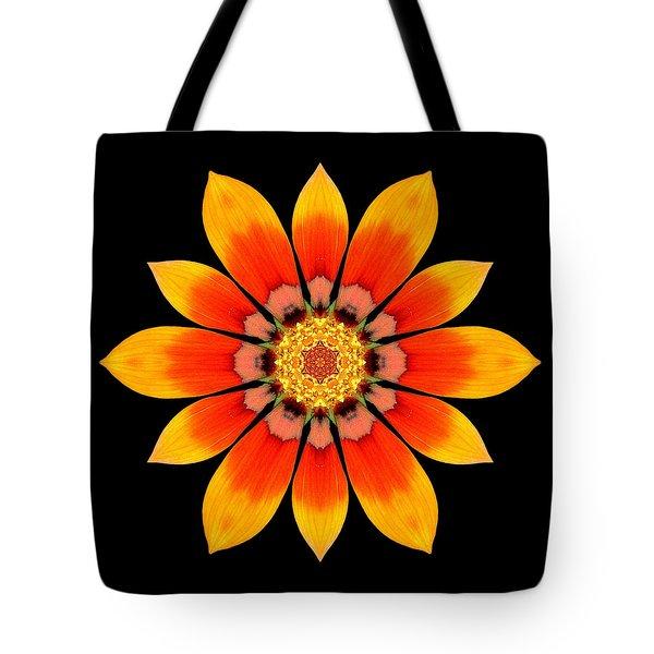 Orange Gazania I Flower Mandala Tote Bag by David J Bookbinder