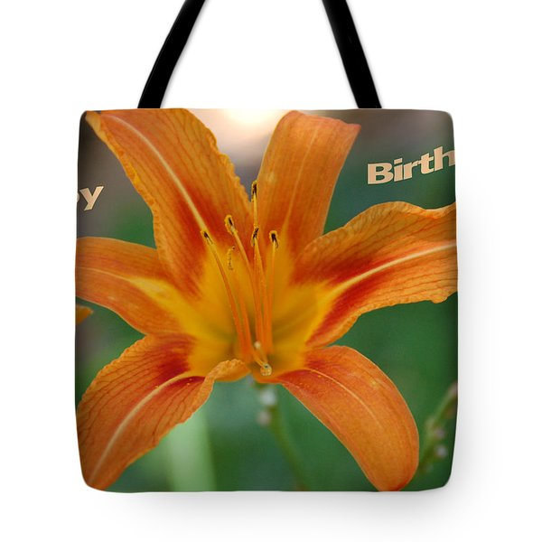 Orange Lily Birthday 1 Tote Bag by Aimee L Maher Photography and Art Visit ALMGallerydotcom
