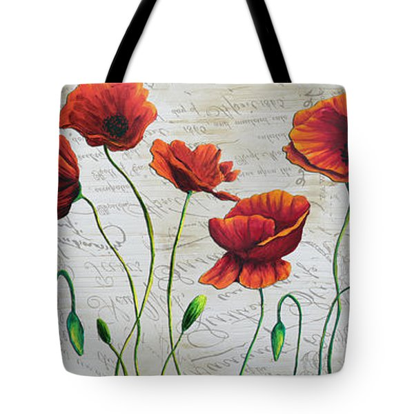 Orange Poppies Original Abstract Flower Painting by Megan Duncanson Tote Bag by Megan Duncanson