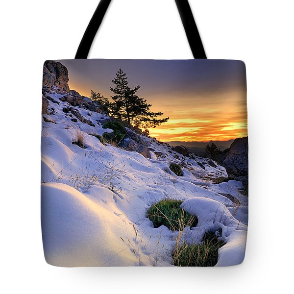 Orange Sunset At The Mountains Tote Bag by Guido Montanes Castillo