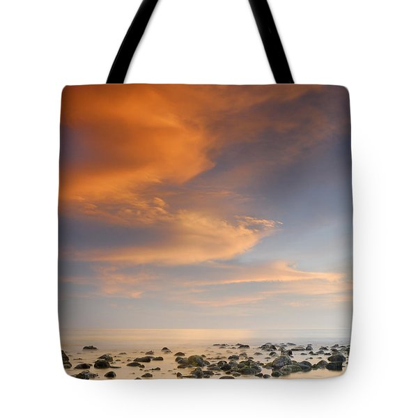 Orange sunset at the rocks Tote Bag by Guido Montanes Castillo