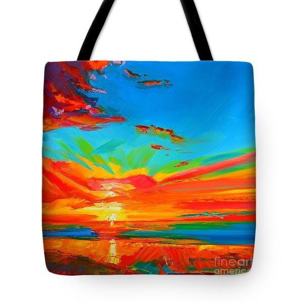 Orange Sunset Landscape Tote Bag by Patricia Awapara