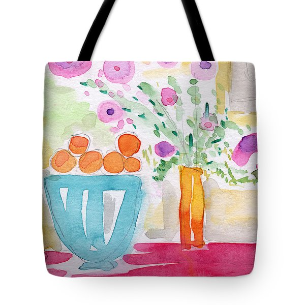 Oranges In Blue Bowl- Watercolor Painting Tote Bag by Linda Woods