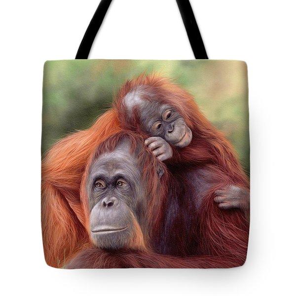 Orangutans Painting Tote Bag by Rachel Stribbling