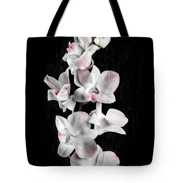 Orchid Flowers On Black Tote Bag by Elena Elisseeva