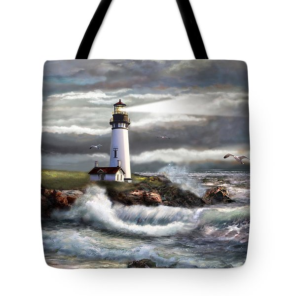 Oregon Lighthouse Beam of hope Tote Bag by Gina Femrite