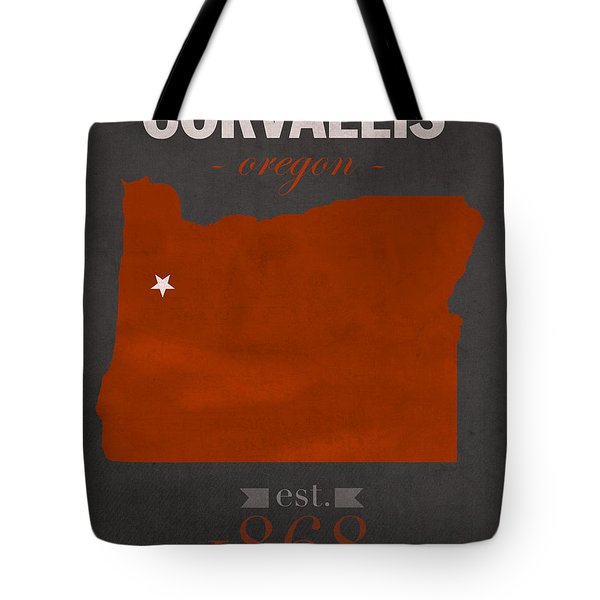 Oregon State University Beavers Corvallis College Town State Map Poster Series No 087 Tote Bag by Design Turnpike