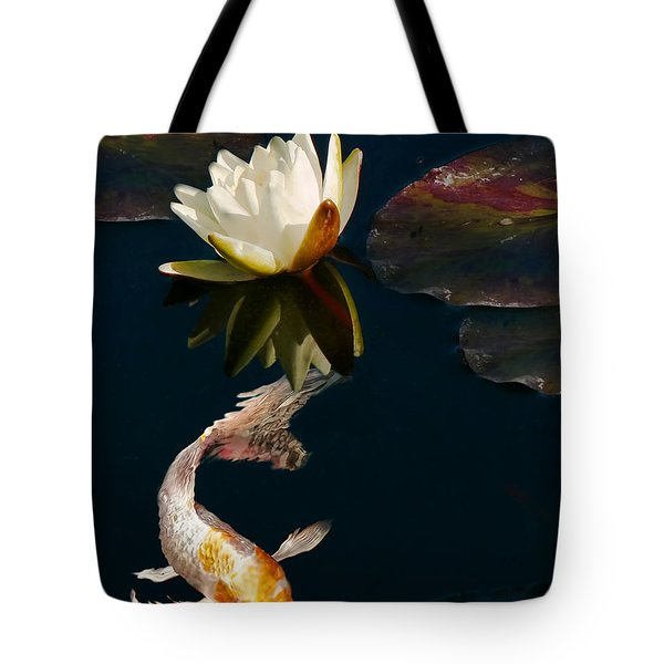 Oriental Koi Fish And Water Lily Flower Tote Bag by Jennie Marie Schell