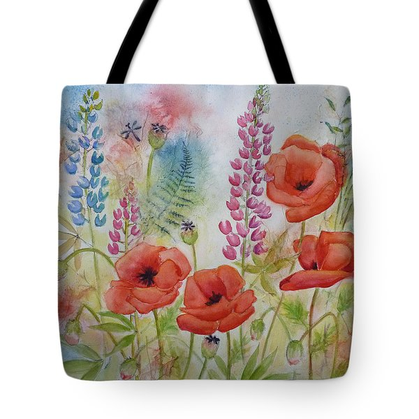 Oriental Poppies Meadow Tote Bag by Carla Parris