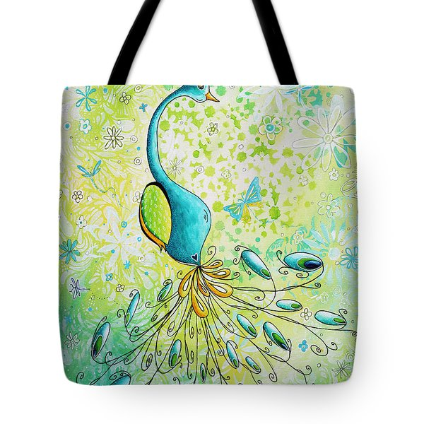 Original Acrylic Bird Floral Painting Peacock Glory By Megan Duncanson Tote Bag by Megan Duncanson