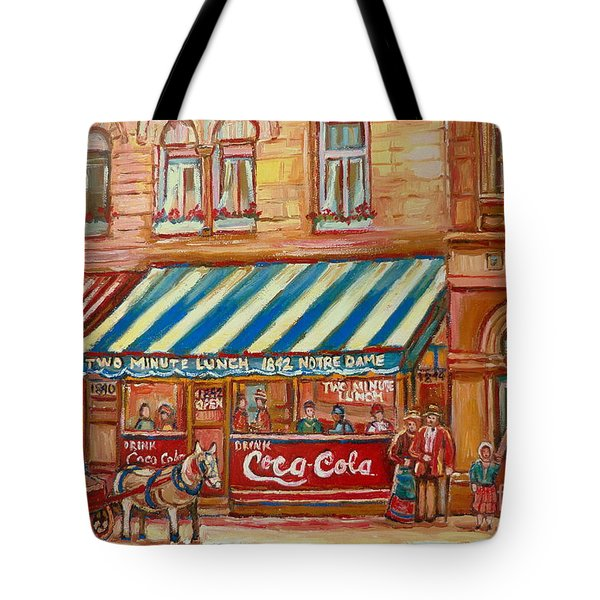 Original Bank Notre Dame Street Tote Bag by Carole Spandau
