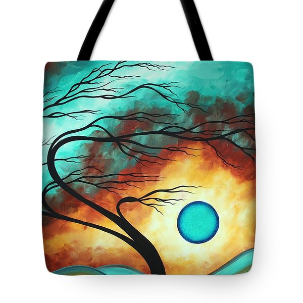 Original Bold Colorful Abstract Landscape Painting Family Joy I By Madart Tote Bag by Megan Duncanson