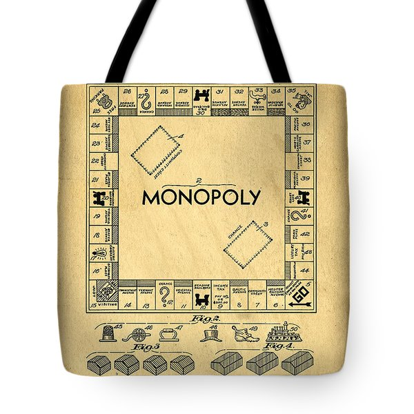 Original Patent for Monopoly Board Game Tote Bag by Edward Fielding