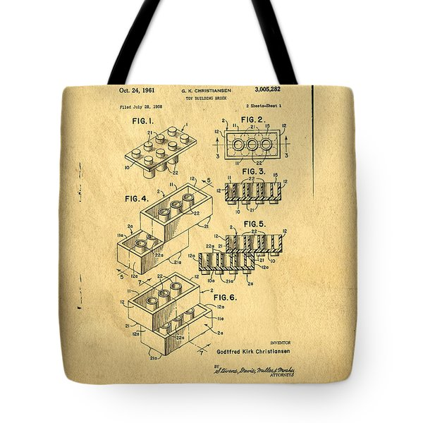 Original US Patent for Lego Tote Bag by Edward Fielding
