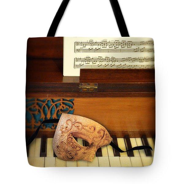 Ornate Mask On Piano Keys Tote Bag by Jill Battaglia