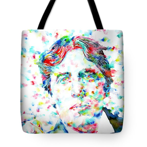 OSCAR WILDE with CIGAR - watercolor PORTRAIT Tote Bag by Fabrizio Cassetta