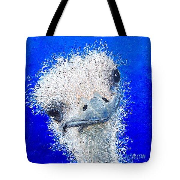 Ostrich Painting 'waldo' By Jan Matson Tote Bag by Jan Matson