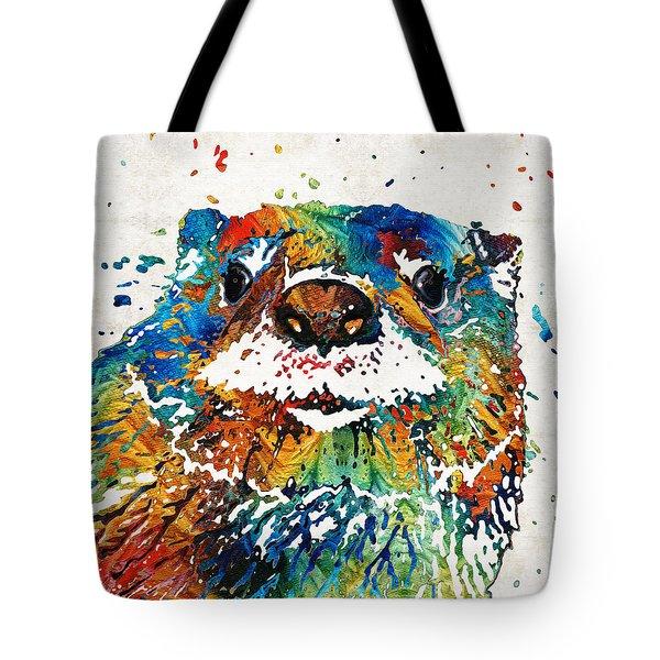 Otter Art - Ottertude - By Sharon Cummings Tote Bag by Sharon Cummings
