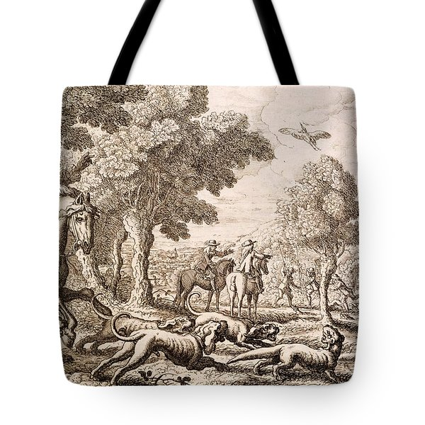 Otter Hunting By A River, Engraved Tote Bag by Francis Barlow