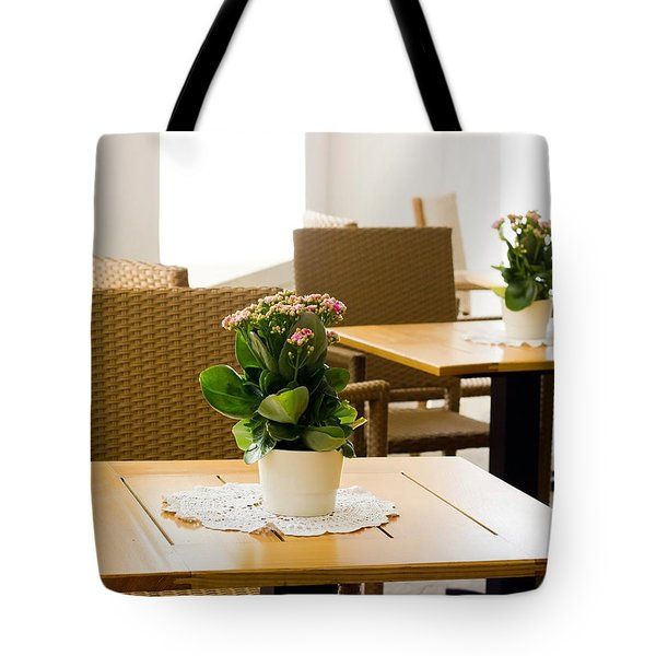 Outdoor Dining Tables Tote Bag by Pati Photography