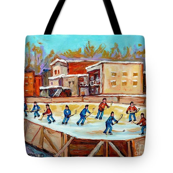 Outdoor Hockey Fun Rink Hockey Game In The City Montreal Memories Paintings Carole Spandau Tote Bag by Carole Spandau
