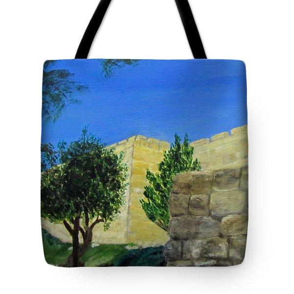 Outside The Wall - Jerusalem Tote Bag by Linda Feinberg
