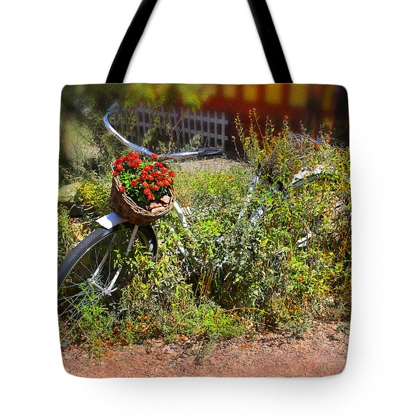 Overgrown Bicycle With Flowers Tote Bag by Mike McGlothlen