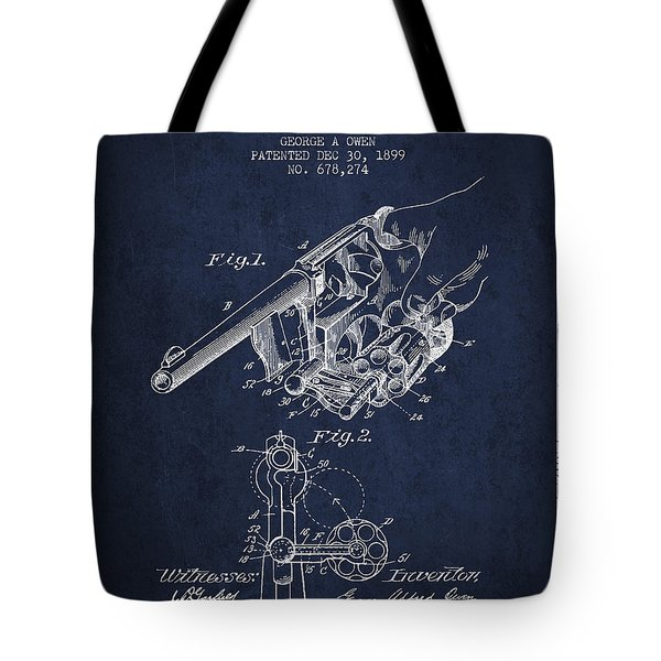 Owen Revolver Patent Drawing From 1899- Navy Blue Tote Bag by Aged Pixel