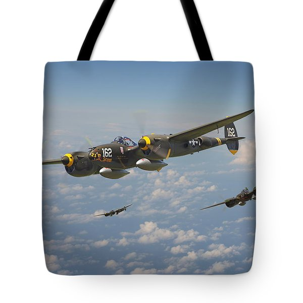 P38 Lightning - Pacific Patrol Tote Bag by Pat Speirs