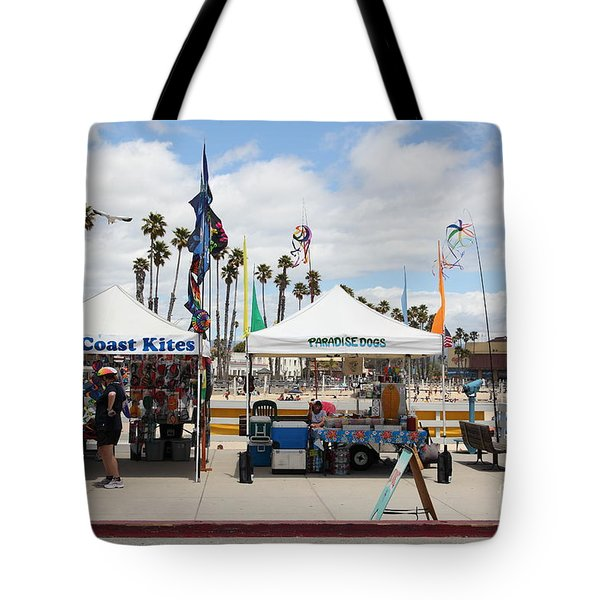 Pacific Coast Kites And Paradise Dogs On The Municipal Wharf At The Santa Cruz Beach Boardwalk Calif Tote Bag by Wingsdomain Art and Photography