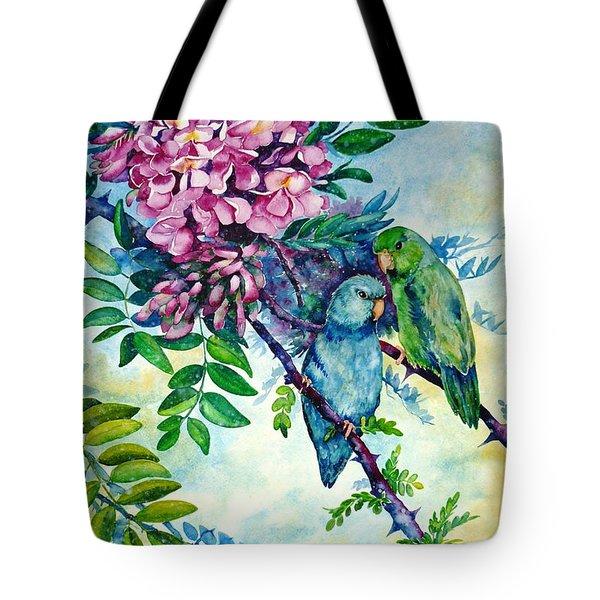 Pacific Parrotlets Tote Bag by Zaira Dzhaubaeva
