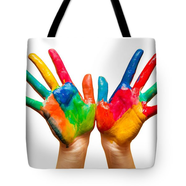 Painted Hands On White Tote Bag by Michal Bednarek
