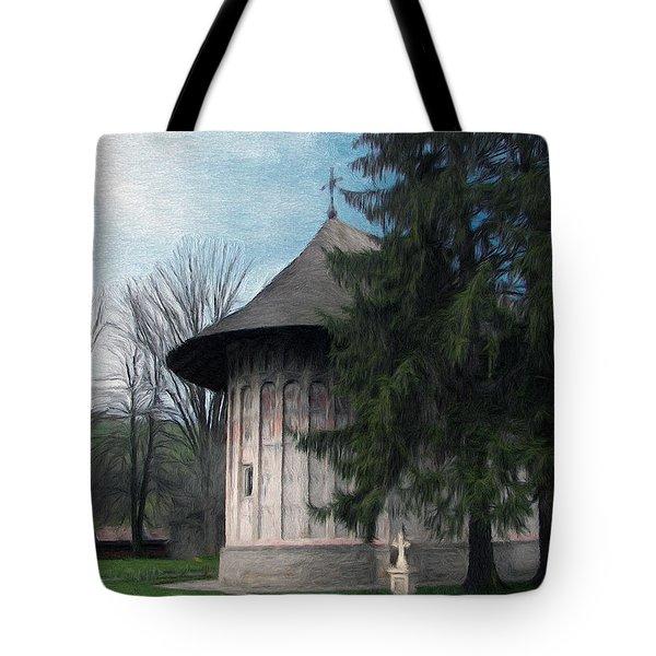 Painted Monastery Tote Bag by Jeff Kolker