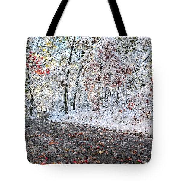 Painted Snow Tote Bag by Catherine Reusch  Daley