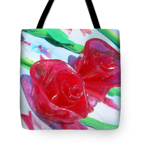 Painterly Stained Glass Looking Flowers Tote Bag by Ruth Collis