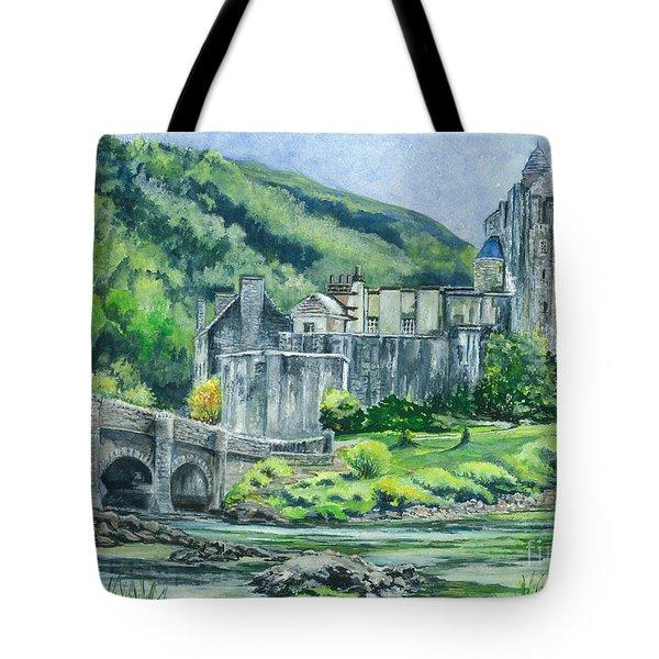 Painting Eilean Donan Medieval Castle Scotland Tote Bag by Carol Wisniewski