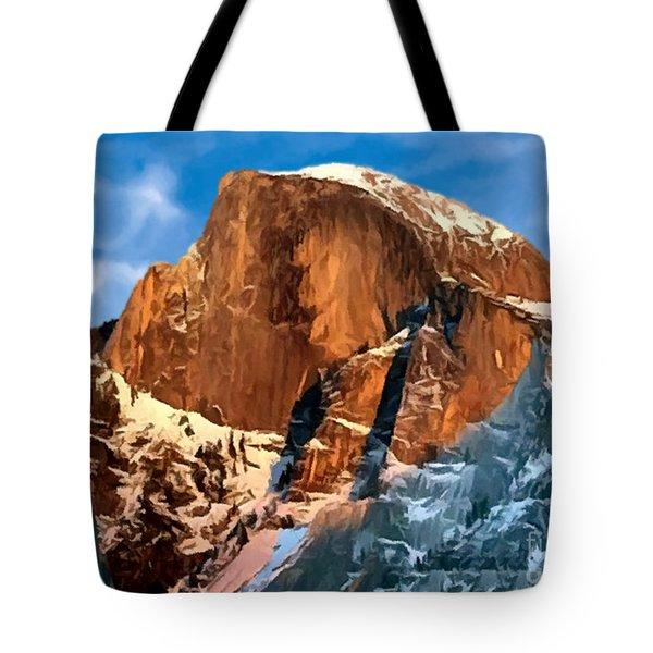 Painting Half Dome Yosemite N P Tote Bag by  Bob and Nadine Johnston
