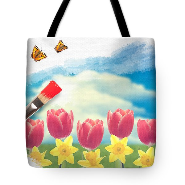 Painting Tulips Tote Bag by Amanda And Christopher Elwell
