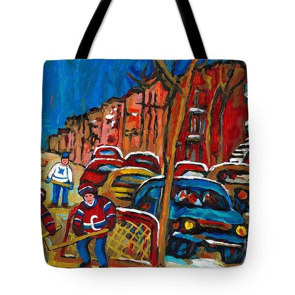 Paintings Of Montreal Hockey City Scenes Tote Bag by Carole Spandau