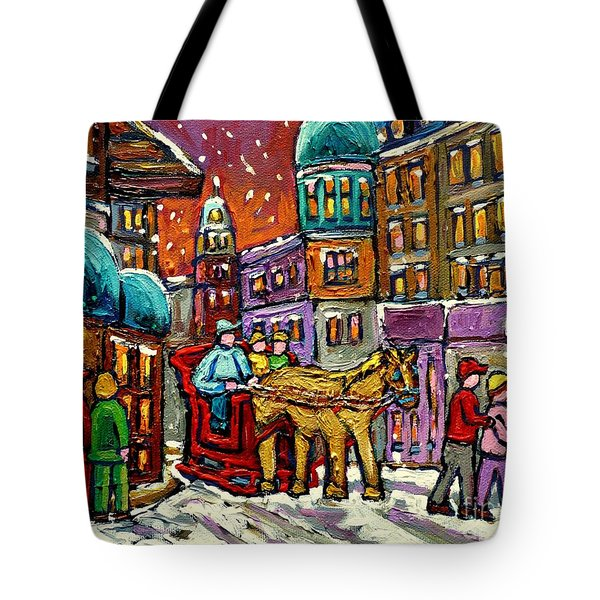 Paintings Of Old Quebec Magical Vieux Port Montreal City Scenes Caleche In Winter Carole Spandau Tote Bag by Carole Spandau
