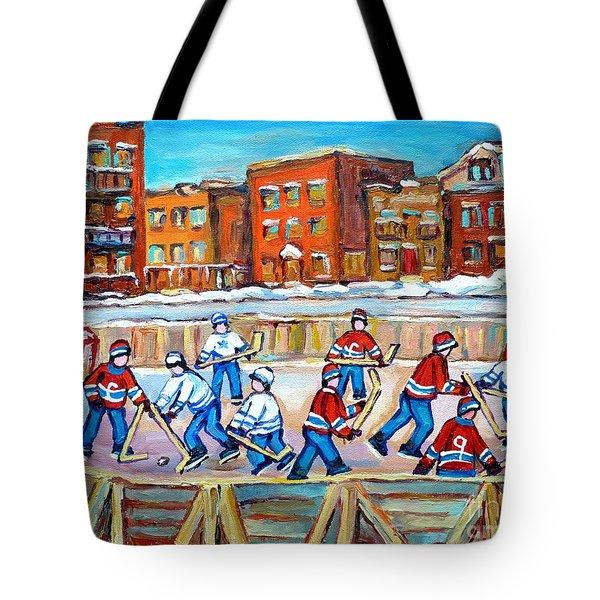 Paintings  Verdun Rink Hockey Montreal Memories Canadiens And Maple Leaf Hockey Game Carole Spandau Tote Bag by Carole Spandau