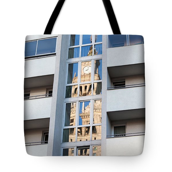 Palace of Culture and Science Abstract Reflection Tote Bag by Artur Bogacki