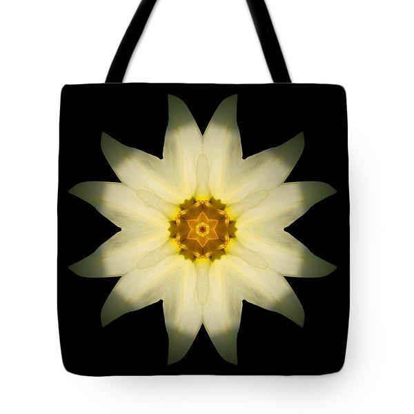 Pale Yellow Daffodil Flower Mandala Tote Bag by David J Bookbinder