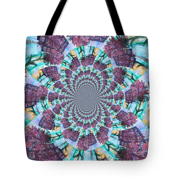 Palette Knife Flowers Kaleidoscope Mandela Tote Bag by Genevieve Esson