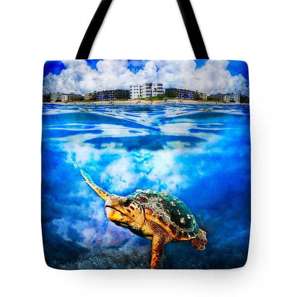 Palm Beach Under And Over Tote Bag by Debra and Dave Vanderlaan