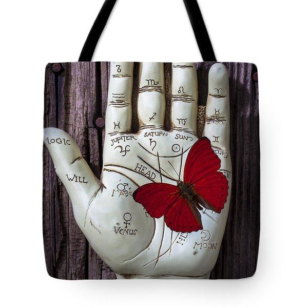 Palm reading hand and butterfly Tote Bag by Garry Gay