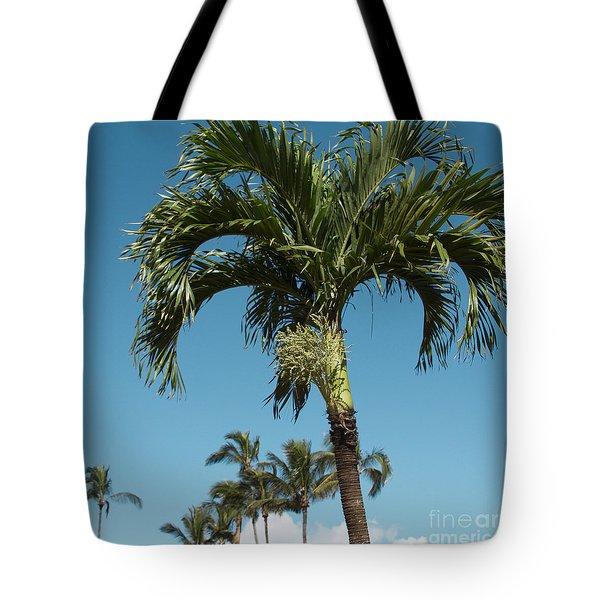 Palm Trees And Blue Sky Tote Bag by Sharon Mau