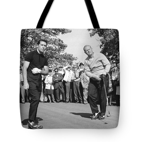 Palmer, Player And Nicklaus Tote Bag by Underwood Archives