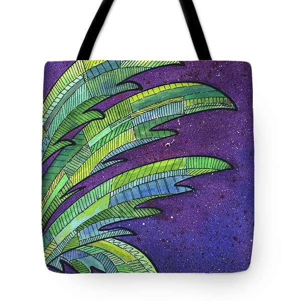 Palms Against The Night Sky Tote Bag by Diane Thornton
